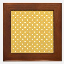 golden with white dots Framed Tile