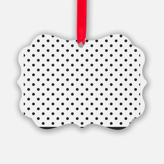 white with soft black dots Ornament