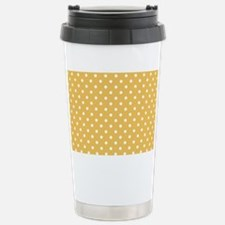 golden with white dots Stainless Steel Travel Mug
