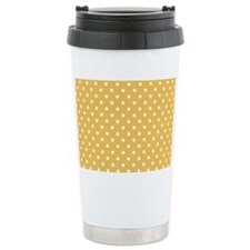 golden with white dots Travel Mug