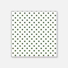 """white with green dots Square Sticker 3"""" x 3"""""""