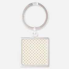 white with golden dots Square Keychain