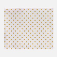 white with golden dots Throw Blanket