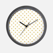 white with golden dots Wall Clock