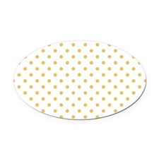 white with golden dots Oval Car Magnet