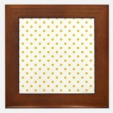 white with golden dots Framed Tile