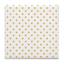 white with golden dots Tile Coaster