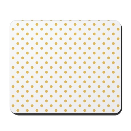 White With Golden Dots Mousepad