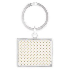 white with golden dots Landscape Keychain