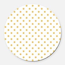 white with golden dots Round Car Magnet