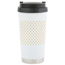 white with golden dots Travel Coffee Mug