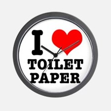 I Heart (Love) Toilet Paper Wall Clock