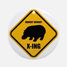 Hungry Hippo Crossing ONLY Round Ornament