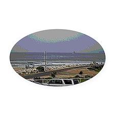 El Porto Beach Scene Oval Car Magnet