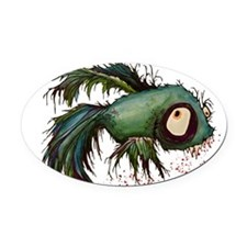 zombiefied betta fish Oval Car Magnet