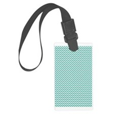 Chevrons White med teal 3x5 Luggage Tag