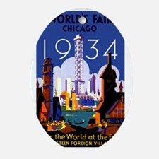 Chicago Worlds Fair 1934 Oval Ornament