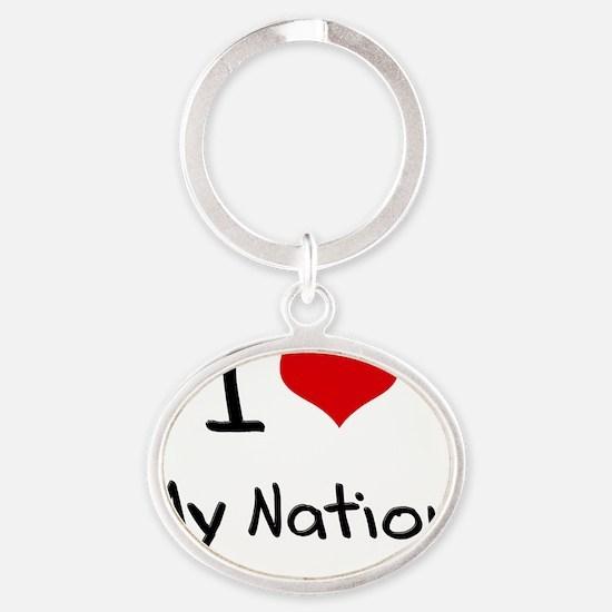 I Love My Nation Oval Keychain