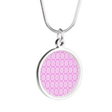 Summer Pastel Pattern Silver Round Necklace