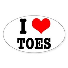 I Heart (Love) Toes Oval Decal