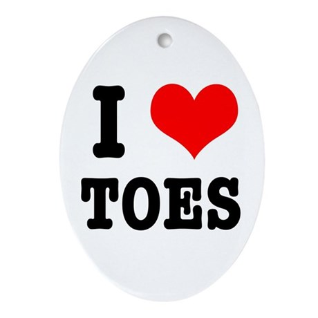 I Heart (Love) Toes Oval Ornament