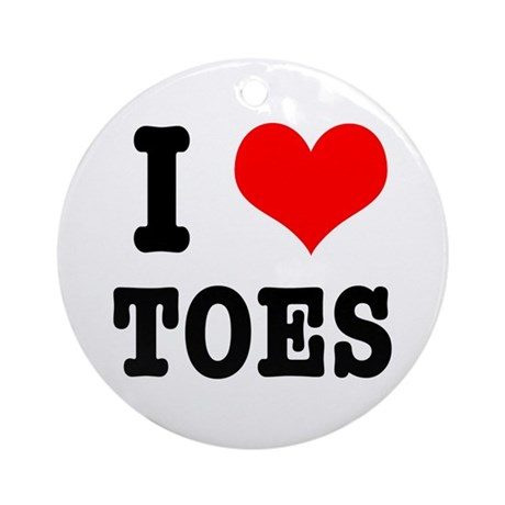 I Heart (Love) Toes Ornament (Round)