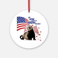 USA Patriotic ferret Round Ornament