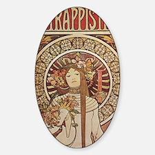 Vintage Art Nouveau Alfonse Mucha a Sticker (Oval)