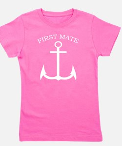 First Mate Boating Anchor White Girl's Tee