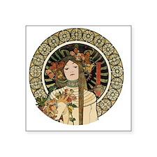 """Vintage Art Nouveau Alfonse Square Sticker 3"""" x 3"""""""