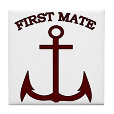 First Mate Boating Anchor Maroon Tile Coaster