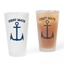 First Mate Sailor Boating Anchor Bl Drinking Glass