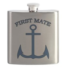 First Mate Sailor Boating Anchor Blue Flask