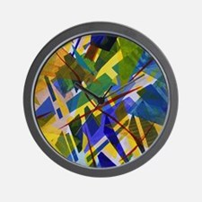 The City I, Abstract Blue Yellow Light Wall Clock