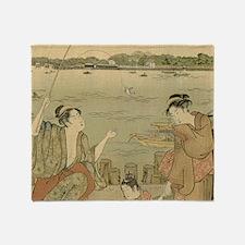 Vintage Japanese Fishing Woodblock P Throw Blanket