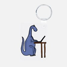 Dinosaur Using Laptop Aluminum Photo Keychain
