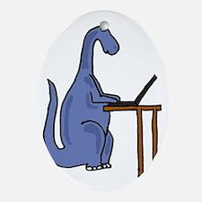 Dinosaur Using Laptop Oval Ornament