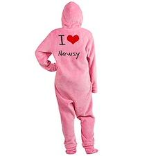 I Love Newsy Footed Pajamas