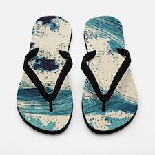 Vintage Waves Japanese Woodcut Ocean Flip Flops