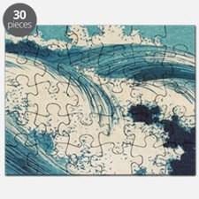 Vintage Waves Japanese Woodcut Ocean Puzzle