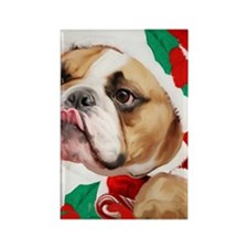 bulldog christmas card Rectangle Magnet