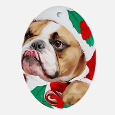 bulldog christmas card Oval Ornament