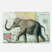 India Map Elephant Postcards (Package of 8)