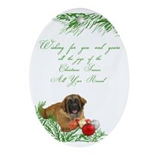 inside leonberger puppy card Oval Ornament