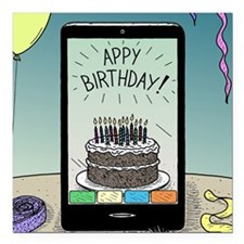 "Appy Birthday! Square Car Magnet 3"" x 3"""
