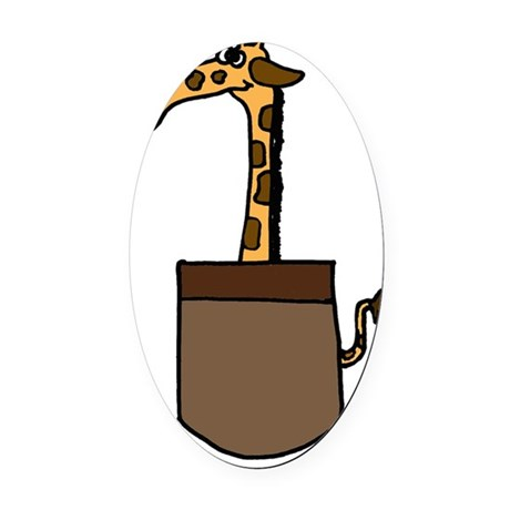 Giraffe in a Pocket Oval Car Magnet