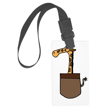 Giraffe in a Pocket Large Luggage Tag