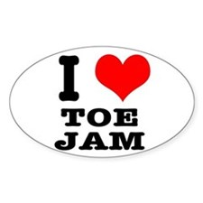 I Heart (Love) Toe Jam Oval Decal