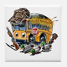 DUCK HUNTING schoolbus Tile Coaster