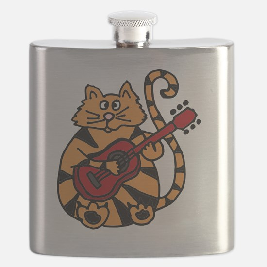 Tiger Cat Playing Red Guitar Flask